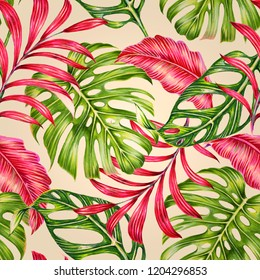 Tropical leaves, jungle monstera leaf, retro seamless floral pattern background