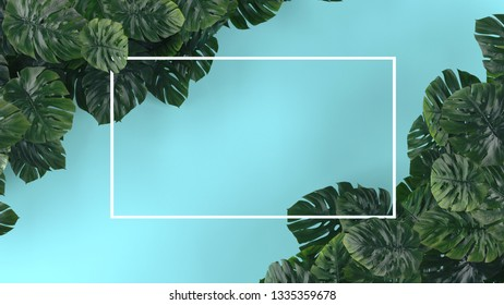 Tropical leaves Monstera on blue background. Template layout, minimal fashion summer concept art . Flat lay, top view. 3d illustration.