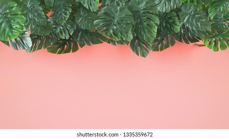 Tropical leaves Monstera on pink background. Template layout, minimal fashion summer concept art . Flat lay, top view. 3d illustration.