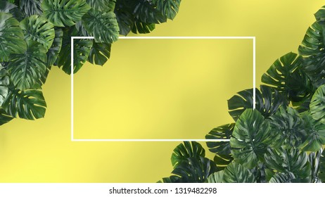 Tropical leaves Monstera on yellow background. Template layout, minimal fashion summer concept art . Flat lay, top view, 3d rendering.