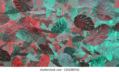 Tropical leaves Monstera in vibrant bold gradient holographic colors. Template layout, trend fashion concept art . Flat lay, 3d illustration.