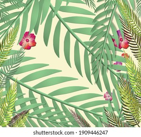 Tropical leaves on yellow background. Exotic botanical design. 3D illustration