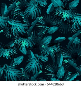 Tropical leaves pattern repeating. Foliage trendy dark blue leaf exotic plants seamless. Artistic photo collage for floral print. Natural leaves palm, banana, monstera template background.