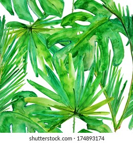 Tropical leaves. seamless watercolor background.