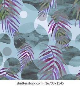 Tropical leaves. Watercolor leaves of a tree, palms,fern, nettle, abstract blue of splash. Watercolor abstract seamless background, pattern, spot, splash of paint, blot, divorce, color. Tropic pattern