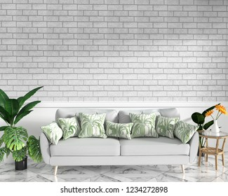 Tropical Loft interior mock up with sofa and decoration and brick wall on granite floor .3D rendering