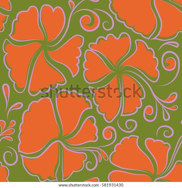Tropical with many neutral, green and orange hibiscus flowers. Neutral, green and orange.
