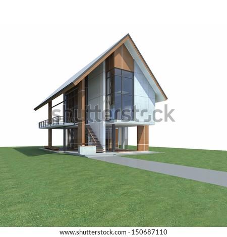 Tropical Modern House Design Development Steel Stock Illustration