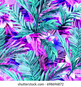 Tropical Neon Floral Palm Leaf Overlay Print in Turquoise and Fuchsia  Seamless Pattern in Repeat