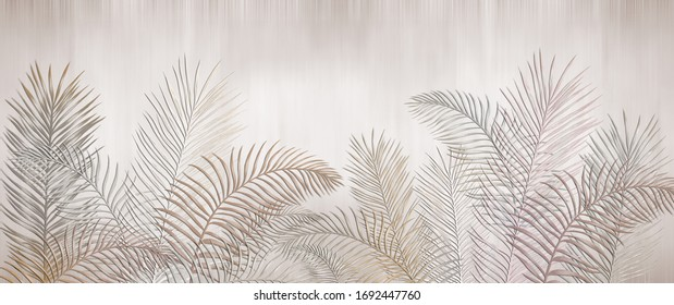 Tropical palm leaves. Beige leaves on a light background. Mural, Wallpaper for internal printing.