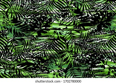 Tropical palm leaves fabric abstract on mixed animal skin texture background for textile and digital print design - Illustration