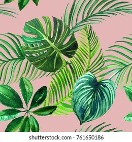 Tropical palm leaves, jungle leaf seamless pattern background