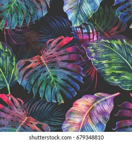 Tropical palm leaves, jungle monstera leaf seamless watercolor floral pattern background