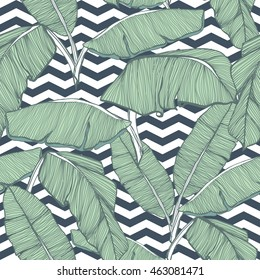 Tropical palm leaves seamless background, tropical leaves