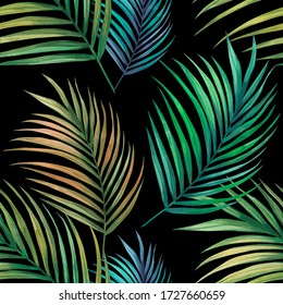 Tropical palm leaves seamless  pattern background