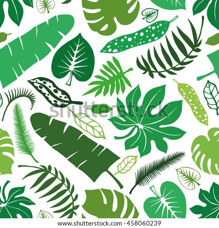 Tropical Palm Leaves Seamless PatternGreen Leaf Silhouette Background On WhiteMonstera