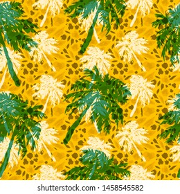 tropical palm trees seamless pattern on orange background, sultry African print, imitation of animal skins, camouflage, green silhouettes of coconut palms.