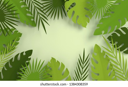 Tropical paper palm leaves frame. Summer tropical green leaf. Origami exotic hawaiian jungle foliage, summertime background. Paper cut. Minimal style. 3d render