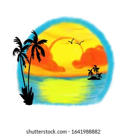 Tropical paradise design background watercolor and airbrush