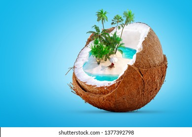Tropical paradise island with palm trees, sand beach and blue sea or ocean water as cocktail drink in coconut. Vacation, tourism, relaxation, holiday, cruise, romantic party concept.Clipping path. 3D