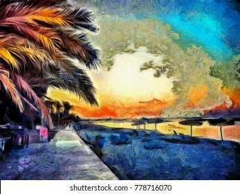 Paintings Oil Tropical Landscape Images Stock Photos Vectors Shutterstock