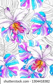 tropical pattern with 80th gradient effect. Plumeria, frangipani, and monstera leaves. active, swimwear, textile for fashion, stationery.  Seamless prism color tropical.