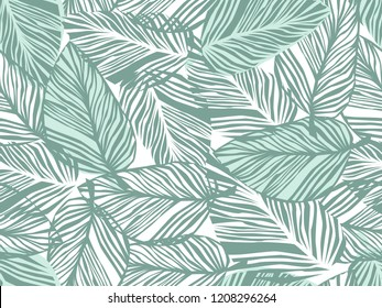 Tropical pattern, floral background. palm leaves seamless pattern, Abstact green leaves. Raster version.