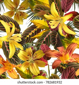 Tropical pattern spring floral background. Photo mix jungle design for shirt and camouflage textures. Yellow lilies and green red leaves art work on a white background.