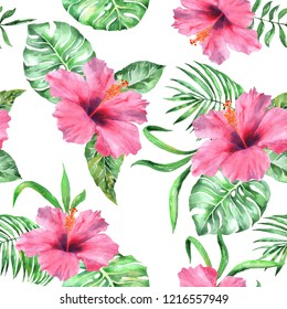 Tropical pattern watercolor flowers exotic and palm leaves. Gorgeous hand drawn illustration summer printing background repeating  floral paradise design