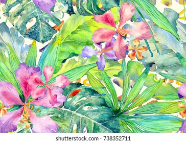 Tropical pattern. Watercolor thailand palm, monstera, hibiscus, banana tree. Exotic swimwear design. Horizontal summer hawaiian pattern. Aloha textile repeated print. Watercolour summer illustration.