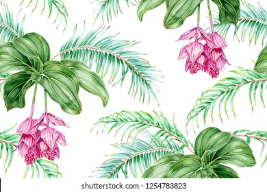 Tropical pink flowers and palm branches. Watercolor seamless pattern.