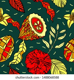 Tropical plants and fruits, pattern design.