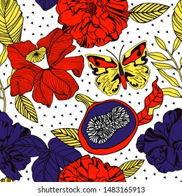 Tropical plants and fruits, seamless pattern.