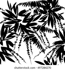 tropical plants. Seamless pattern with exotic leaves.