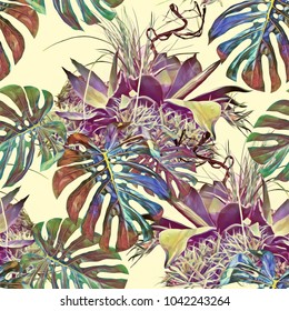 Tropical plants seamless pattern.  Watercolor illustration. Artistic background.