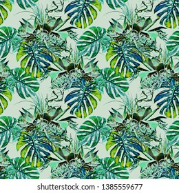 Tropical plants seamless pattern . Watercolor illustration. Hand painted floral design.