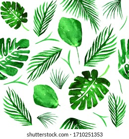 Tropical plants seamless watercolor pattern on white background