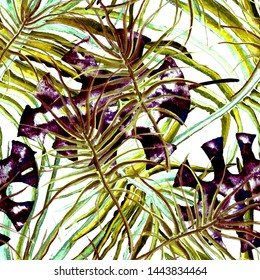 Tropical Purple Seamless Pattern. Summer Jungle Watercolor illustration. Tropical Seamless Hand Painted Floral Pattern.Texture Palm Leaves. Purple Exotic Leaf Printed Motif. Jungle Abstract Background