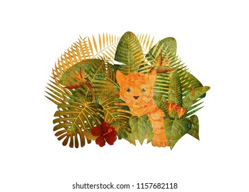 Tropical Rain Forest  Jungle Plants with Leaves Flowers and Tiger Cub Grunge Texture Isolated on White Background Color Illustration
