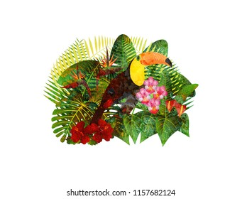 Tropical Rain Forest  Jungle Plants with Leaves Flowers and Toucan Bird Grunge Texture Isolated on White Background Color Illustration
