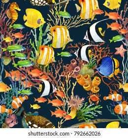 tropical sea fish seamless pattern. underwater world background. coral reef watercolor illustration.