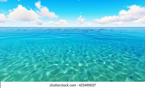Tropical sea sky clouds blue 3D rendering
