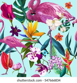 tropical seamless exotic floral fashion pattern with flamingo