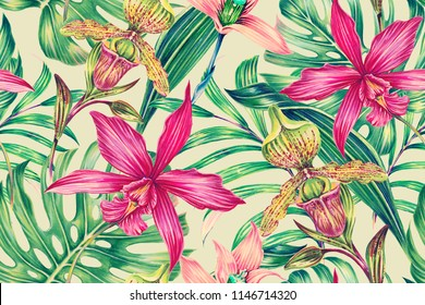 Tropical seamless pattern background with exotic flowers, palm leaves, jungle monstera leaf, orchid flower. Botanical vintage wallpaper illustration