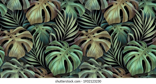 Tropical seamless pattern with beautiful monstera, palm leaves. Hand-drawn dark vintage 3D illustration. Glamorous exotic abstract background design. Good for luxury wallpapers, fabric printing, goods