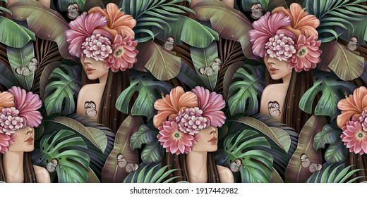 Tropical seamless pattern with beautiful women, butterflies, plumeria, cactus, hibiscus flowers, monstera, palm, banana leaves. Hand-drawn vintage 3D illustration. Good for wallpapers, fabric printing