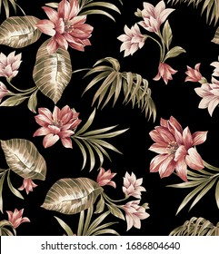 Tropical seamless pattern composed by exotic red and pink flowers and leaf on a black background.