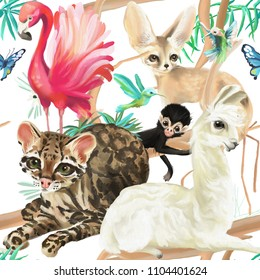 Tropical seamless pattern - flamingo, ocelot cat, llama, monkey and fennec fox with hummingbirds and butterflies