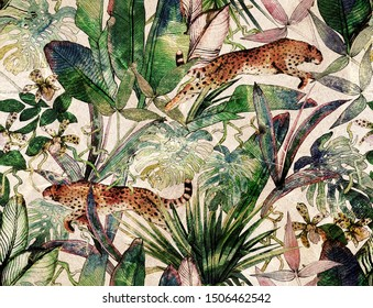 Tropical seamless pattern with tropical flowers, banana leaves and panther, leopard, cougar, wildcat. Luxury background