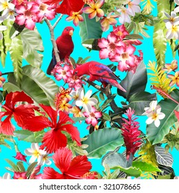 Tropical seamless pattern with tropical flowers, birds, tropical plants and leaves. Realistic photo collage of tropical rainforest